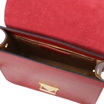 イタリア製ゴールドチェーンのクラッチ&ショルダーバッグ TL BAG、レッド、詳細4