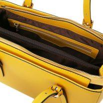イタリア製スムースレザー2WAYハンドバッグ AURA、イエロー、詳細3