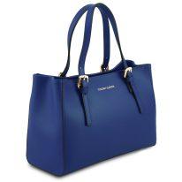 イタリア製スムースレザー2WAYハンドバッグ AURA、ブルー、詳細1