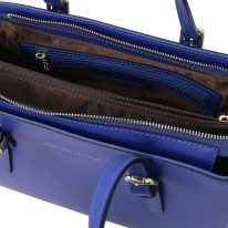 イタリア製スムースレザー2WAYハンドバッグ AURA、ブルー、詳細3