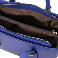 イタリア製スムースレザー2WAYハンドバッグ AURA、ブルー、詳細4