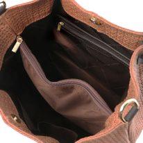 イタリア製イントレチャート編み込み風スウェードの2WAYトートバッグ TL KeyLuck、シナモン、詳細2