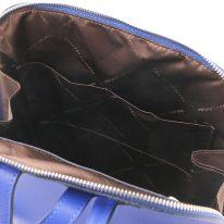 イタリア製サフィアーノレザーのリュック TL BAG、ブルー、詳細3