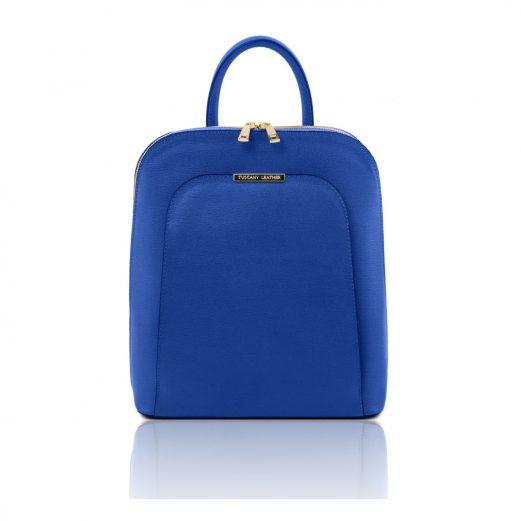 イタリア製サフィアーノレザーのリュック TL BAG、ブルー