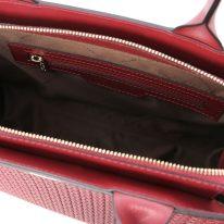 イタリア製イントレチャート編み込み風スウェードの2WAYトートバッグ、レッド、詳細3