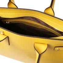 イタリア製パルメラートレザーのトートバッグ CATHERINE、イエロー、詳細4
