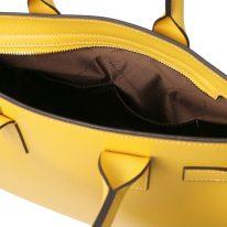 イタリア製パルメラートレザーのトートバッグ CATHERINE、イエロー、詳細5