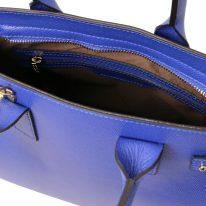 イタリア製パルメラートレザーのトートバッグ CATHERINE、ブルー、詳細4