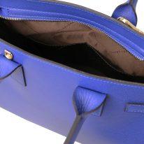 イタリア製パルメラートレザーのトートバッグ CATHERINE、ブルー、詳細5