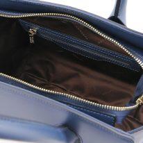 イタリア製スムースレザー2WAYハンドバッグ BRIGID-Mサイズ、ダークブルー、詳細4
