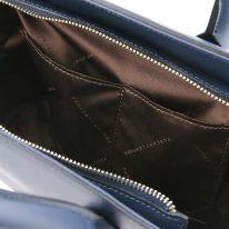 イタリア製スムースレザー2WAYハンドバッグ BRIGID-Mサイズ、ダークブルー、詳細5