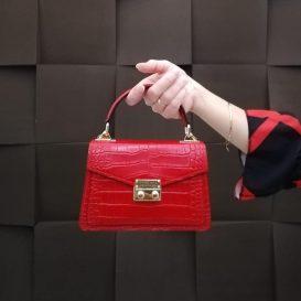 イタリア製クロコ型押しレザーのゴールドチェーンストラップ付ハンドバッグ TL BAG、イメージ2