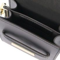 イタリア製スムースレザーのスマートフォン・ミニショルダーバッグTL BAG、ブラック、詳細2
