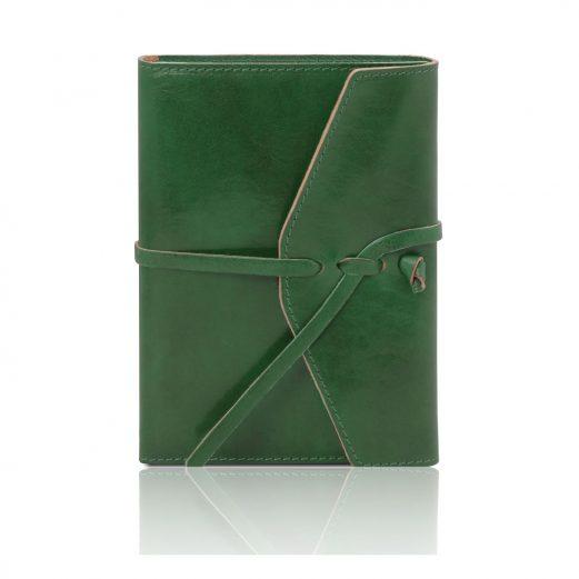 イタリア製ベジタブルタンニンレザーのブックカバー(ノート付き)、グリーン