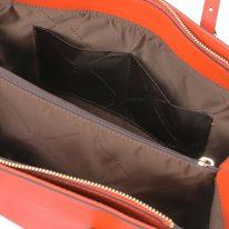 イタリア製スムースレザータッセルつきトートバッグTL BAG、ブランデー、詳細3