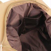 イタリア製シボ型押しソフトレザーの2WAYトートバッグ TL BAG、シャンパーニュ、詳細5