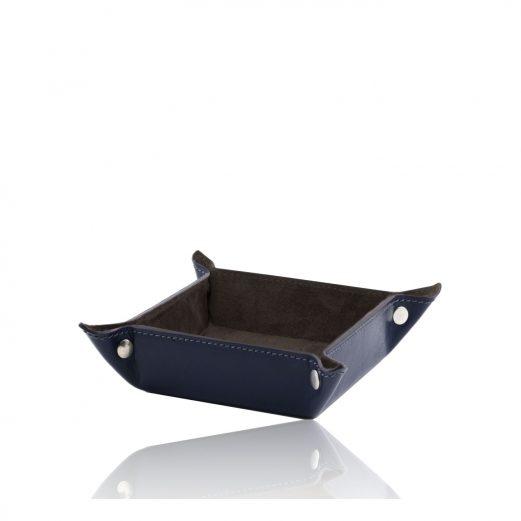 イタリア製ベジタブルタンニンレザーの小物入れ-Mサイズ、ブルー