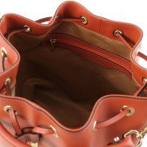 イタリア製スムースレザー2WAY巾着バッグ VITTORIA、ブランデー、詳細3