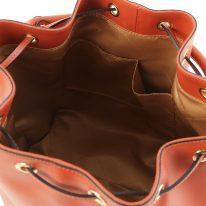 イタリア製スムースレザー2WAY巾着バッグ VITTORIA、ブランデー、詳細4