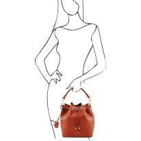 イタリア製スムースレザー2WAY巾着バッグ VITTORIA、ブランデー、詳細5