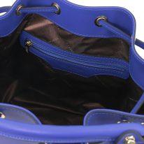 イタリア製スムースレザー2WAY巾着バッグ VITTORIA、ブルー、詳細3
