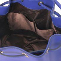 イタリア製スムースレザー2WAY巾着バッグ VITTORIA、ブルー、詳細4