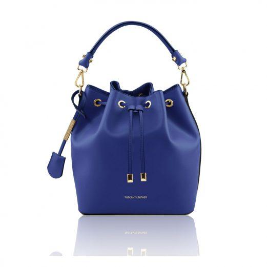 イタリア製スムースレザー2WAY巾着バッグ VITTORIA、ブルー