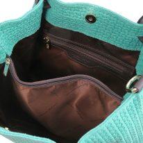 イタリア製イントレチャート編み込み風スウェードの2WAYトートバッグ TL KeyLuck、ターコイズ、詳細2