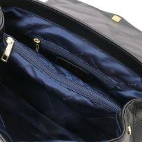 イタリア製ナッパレザー・ゴールドチェーンのショルダーバッグ TL BAG、ブラック、詳細3