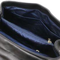 イタリア製ナッパレザー・ゴールドチェーンのショルダーバッグ TL BAG、ブラック、詳細4