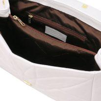 イタリア製ナッパレザー・ゴールドチェーンのショルダーバッグ TL BAG、ホワイト、詳細4