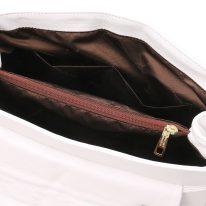 イタリア製ナッパレザー・ゴールドチェーンのショルダーバッグ TL BAG、ホワイト、詳細5