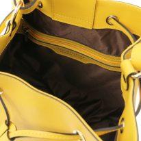 イタリア製パルメラートレザー2WAY巾着バッグ MINERVA、イエロー、詳細3