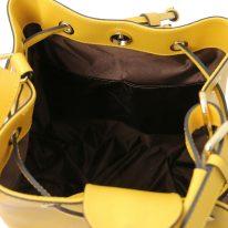 イタリア製パルメラートレザー2WAY巾着バッグ MINERVA、イエロー、詳細4