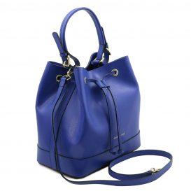 イタリア製パルメラートレザー2WAY巾着バッグ MINERVA、ブルー、詳細1