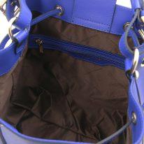 イタリア製パルメラートレザー2WAY巾着バッグ MINERVA、ブルー、詳細3