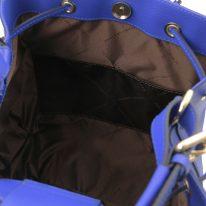 イタリア製パルメラートレザー2WAY巾着バッグ MINERVA、ブルー、詳細4