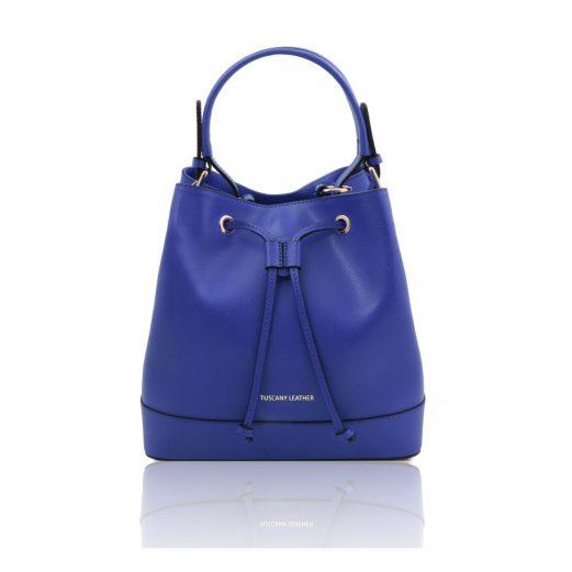 イタリア製パルメラートレザー2WAY巾着バッグ MINERVA、ブルー