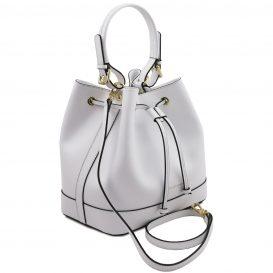 イタリア製パルメラートレザー2WAY巾着バッグ MINERVA、ホワイト、詳細1