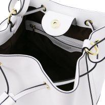 イタリア製パルメラートレザー2WAY巾着バッグ MINERVA、ホワイト、詳細3