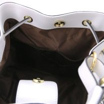 イタリア製パルメラートレザー2WAY巾着バッグ MINERVA、ホワイト、詳細4