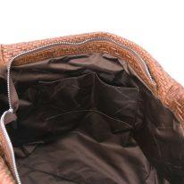 イタリア製イントレチャート編み込み風スウェードのタッセルつき2WAYトートバッグ TL BAG、シナモン、詳細5