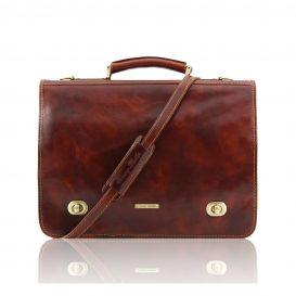 イタリア製ベジタブルタンニンレザーのメッセンジャーバッグ SIENA、ブラウン