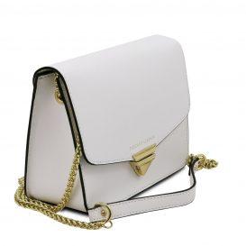 イタリア製サフィアーノレザー&ゴールドチェーンのクラッチ&ショルダーバッグ TL BAG、ホワイト、詳細1
