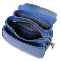イタリア製シボ型押しレザーのショルダーバッグ JASMINE、ブルー、詳細3