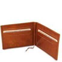 イタリア製ベジタブルタンニンレザーの紙幣クリップ付きふたつ折り財布、ハニー、詳細1