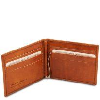 イタリア製ベジタブルタンニンレザーの紙幣クリップ付きふたつ折り財布、ハニー、詳細2