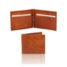 イタリア製ベジタブルタンニンレザーの紙幣クリップ付きふたつ折り財布、ハニー