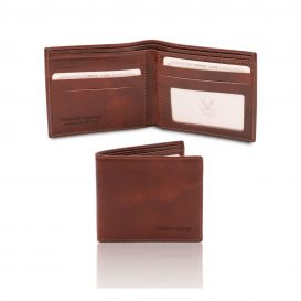 イタリア製フルグレインレザーのクレジットカード&紙幣入れ財布、ブラウン