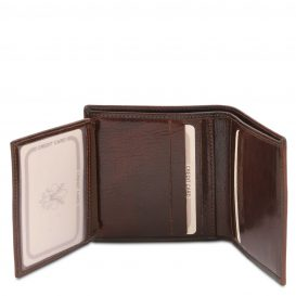 イタリア製フルグレインレザーのIDケースつきクレジットカード&紙幣入れ財布、ダークブラウン、詳細1